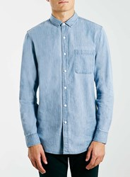 Topman Light Blue Denim Long Sleeve Casual Shirt