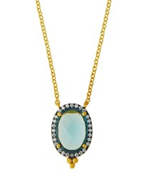 Freida Rothman Oval Aqua Cz Crystal Pendant Necklace Women's