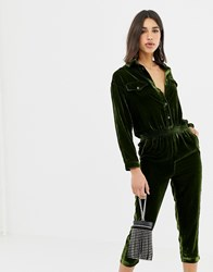 Miss Sixty Velvet Jumpsuit With Back Logo Army Green