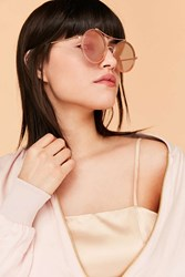 Urban Outfitters Curved Round Brow Bar Sunglasses Pink