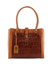 Adelle Crocodile Embossed Leather Tote Bag Black Red Badgley Mischka Cognac