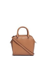 Tory Burch 'Robinson' Mini Pebbled Leather Satchel Brown
