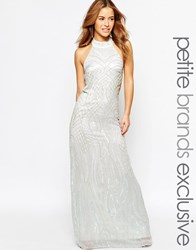 True Decadence Petite Embellished Halter Maxi Dress Grey