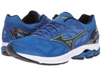 Mizuno Wave Rider 21 Classic Blue Black Safety Yellow Running Shoes