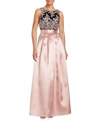 Betsy And Adam Floral Popover Gown Black Blush