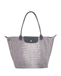 Longchamp Le Pliage Croco Large Shoulder Tote Bag Gray