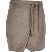 River Island Womens Brown Faux Suede Wrap Belted Mini Skirt