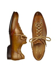 Forzieri Men's Brown Handmade Italian Leather Lace Up Shoes
