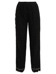 Dolce And Gabbana Mid Rise Floral Lace Pyjama Trousers Black
