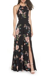 Jenny Yoo Collection Kayla Ohana Print Gown Black Multi