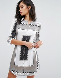 Parisian Scarf Print Shirt Dress White Black