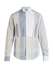 Loewe Wing Collar Patchwork Cotton Blend Shirt Blue Multi