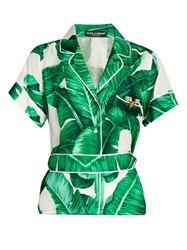 Dolce And Gabbana Banana Leaf Print Silk Twill Shirt Green Multi