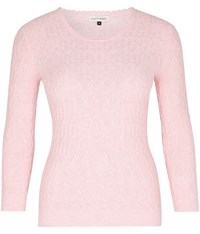 Austin Reed Pink Crew Neck Cable Knit Jumper