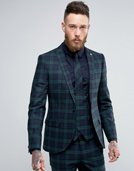 Noose And Monkey Super Skinny Suit Jacket In Check Green