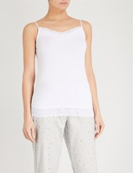 The White Company Lace Trim Stretch Jersey Camisole White