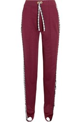 House Of Holland Gingham Poplin Paneled Jersey Track Pants Claret