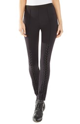 Bcbgmaxazria Laced Faux Leather And Ponte Leggings Black