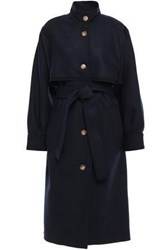 Victoria Beckham Woman Wool Blend Twill Trench Coat Navy