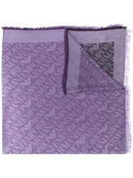 Emporio Armani Logo Embroidered Scarf Purple