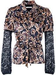 Rodarte Floral Print Fitted Shirt Black