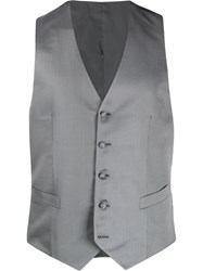 Canali Embroidered Slim Fit Waistcoat Grey