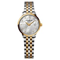 Raymond Weil 5988 Stp 97081 Women's Toccata Two Tone Mother Of Pearl Bracelet Strap Watch Silver Gold