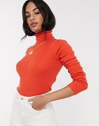 River Island Long Sleeved Roll Neck Top In Orange