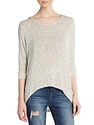 Saks Fifth Avenue Red Marled Hi Lo Sweater Ivory