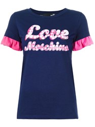 Love Moschino Neon Print T Shirt Blue