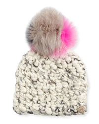 Mischa Lampert Wool Pomster Beanie Gray Multicolor Gray Mix