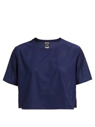 The Upside Track Perforated Cropped T Shirt Navy