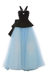 Elizabeth Kennedy Cut Out Peplum Tulle Ball Gown Blue Black