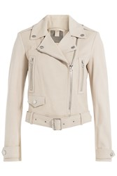 Burberry Brit Leather Biker Jacket Beige