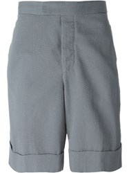 Moncler Gamme Bleu Logo Patch Bermuda Shorts Grey