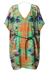 Matthew Williamson Rust Belted Kimono Dress Green