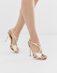 Ted Baker Ivory Satin Bow Detail Heeled Sandals White