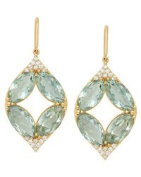 Jamie Wolf 18K Marquise Oval Aladdin Earrings W Green Amethyst And Diamonds Gold
