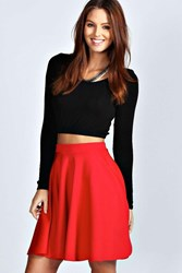 Boohoo Skater Skirt Red