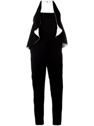 Capucci Backless Ruffle Jumpsuit Black
