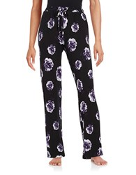 Lord And Taylor Printed Pajama Pants Black Purple