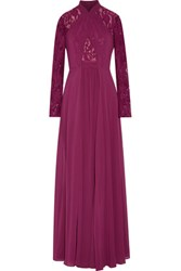 Mikael Aghal Lace Paneled Chiffon Gown Plum