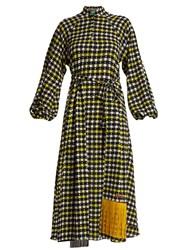 Duro Olowu Napoli Check Print Puff Sleeved Dress Yellow Multi