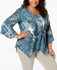 Ny Collection Plus Size Printed Layered Look Top Black Avoriaz