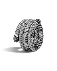 John Hardy Classic Chain Sterling Silver Lava Multi Row Coil Ring With Black Sapphire