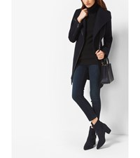 Faux Leather Trimmed Wool And Cashmere Coat