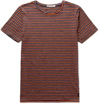 Nudie Jeans Ove Striped Organic Cotton Jersey T Shirt Navy
