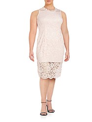 Marina Plus Size Corded Lace Sheath Dress Pink