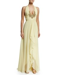 Marchesa Notte Embroidered V Neck Halter Ruffed Front Gown Yellow