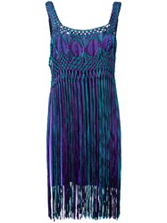 Alberta Ferretti Tassel Dress Pink Purple